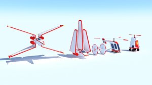 air spaceships stylized low-poly 3D model