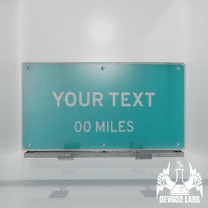 highway sign pack template 3D model