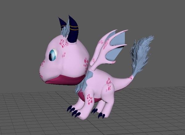 3D cute cartoon baby dragon model