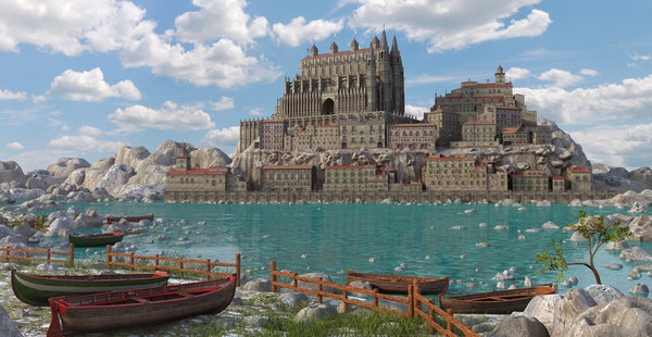 3D model fantasy medieval town