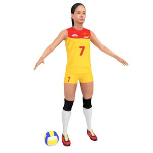 female volleyball player ball 3D