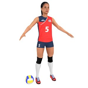 3D model female volleyball player ball