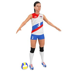 3D female volleyball player ball