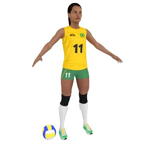 3D female volleyball player ball model