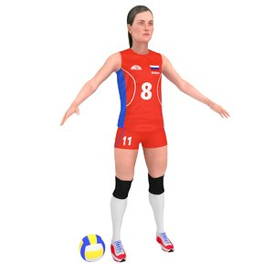 female volleyball player ball 3D model