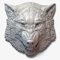 Growling Wolf Face Bas-Relief