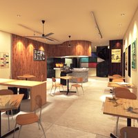 interior coffee bar 3D