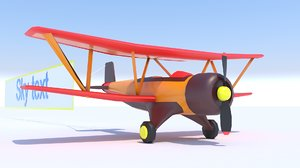 biplane stylized poster 3D