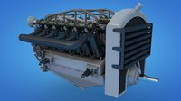 3D aircraft engine eagle model