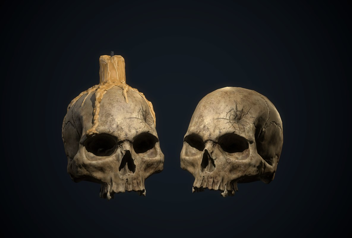 3D skull candle