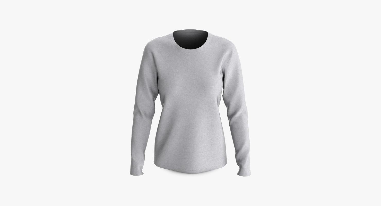 cotton female t-shirt dropped 3D model