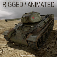 3D red armys t-34 tank