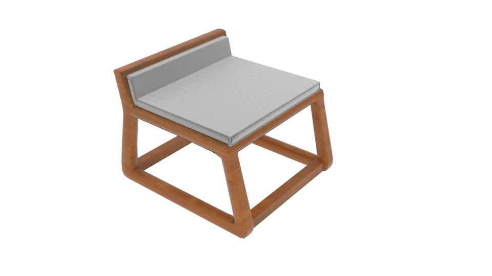 joe solid oak bar stool 3D model