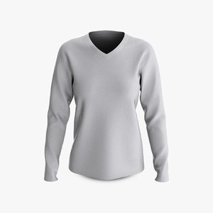 3D model cotton female t-shirt dropped