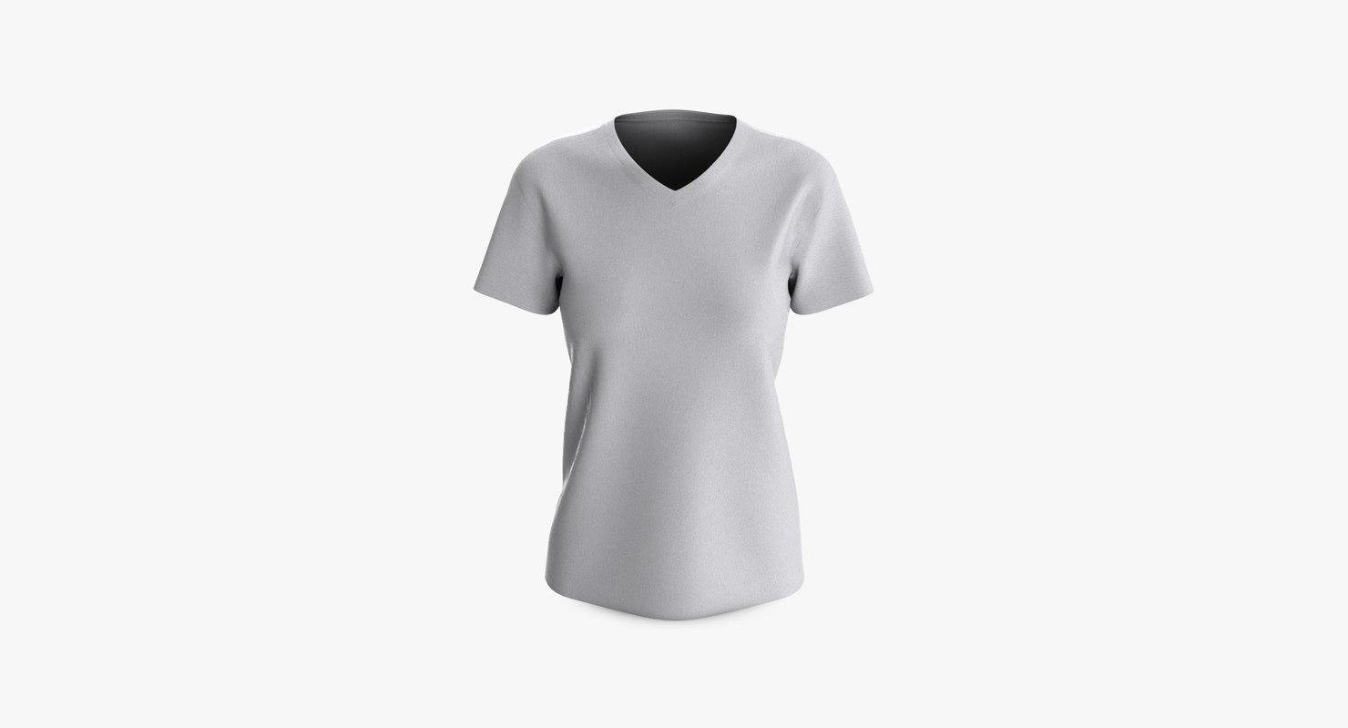 3D cotton female t-shirt dropped model