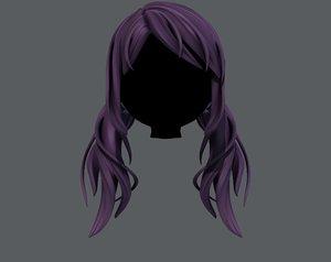 3D model hair style girl v27