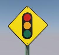 3D road sign traffic light