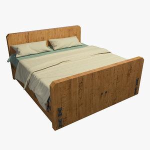 bed frame wood 3D