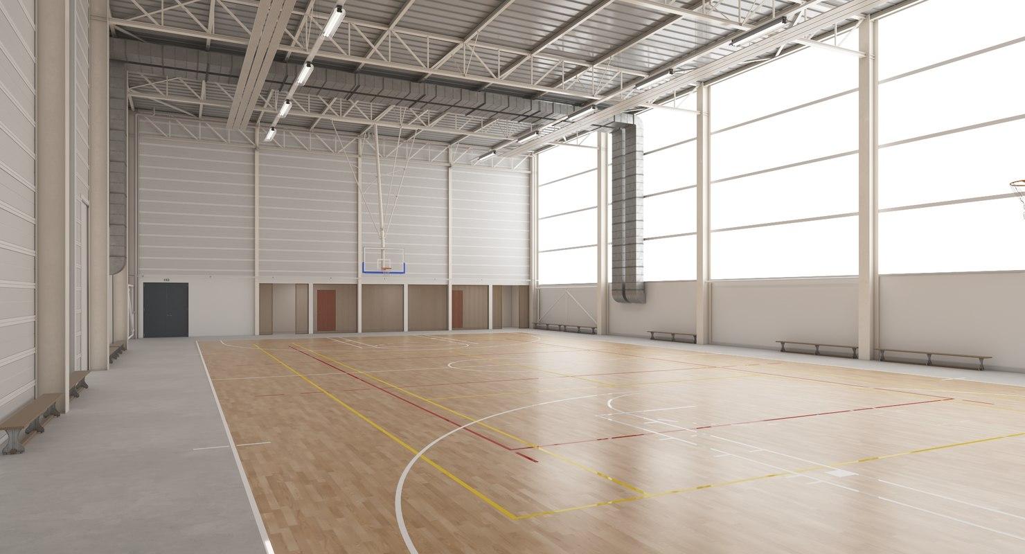 3D gymnasium basketball