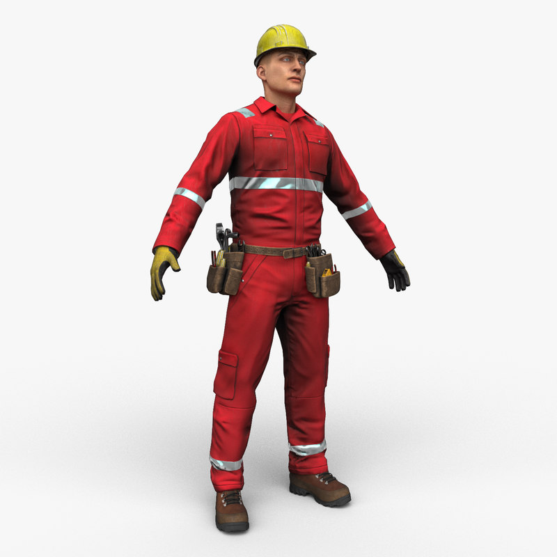 worker character ready model