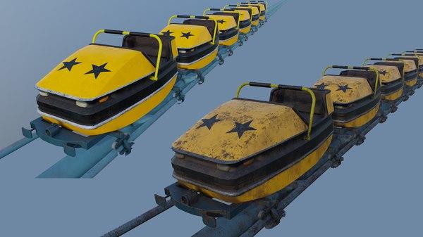 pbr roller coaster cart 3D