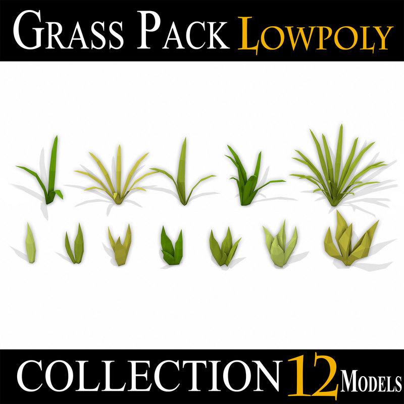 3D grass pack model