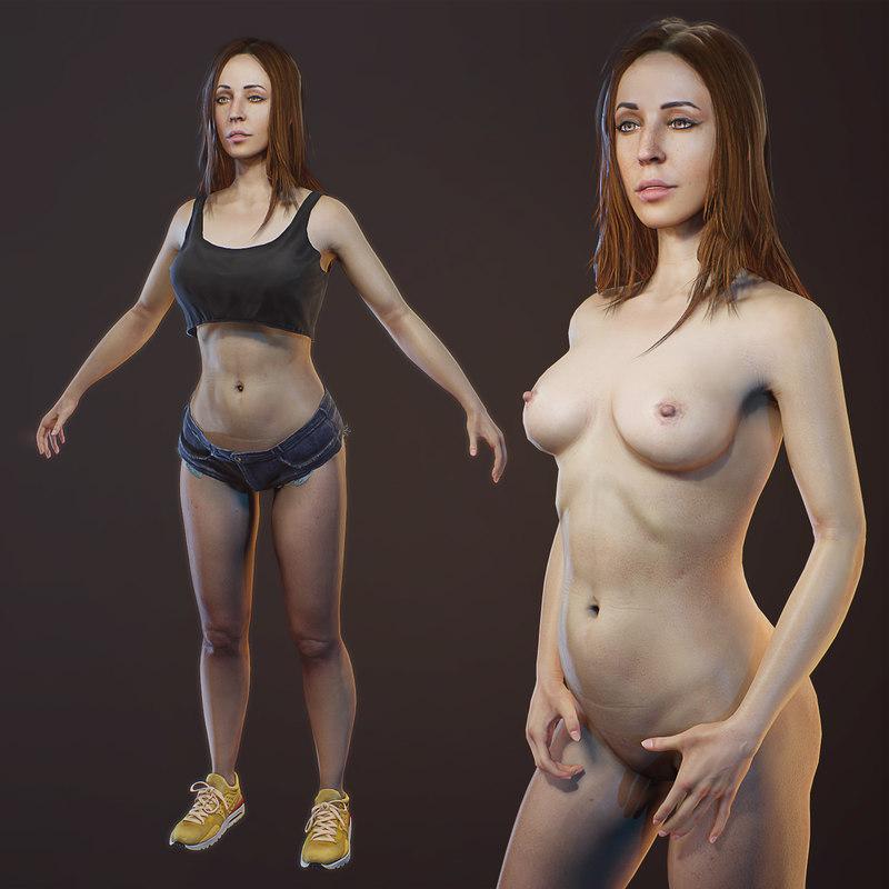 scanned girl body optimized model