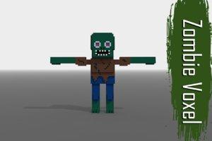 3D model zombie voxel