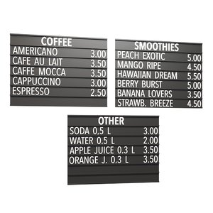 3D model drinks menu