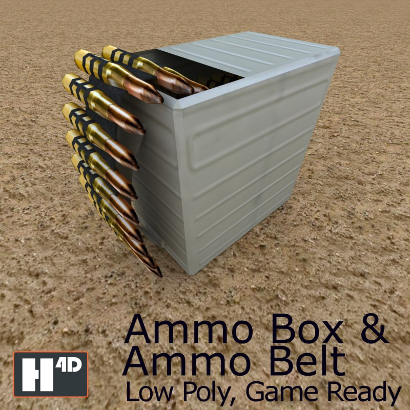 3D ammunition box ammo belt model