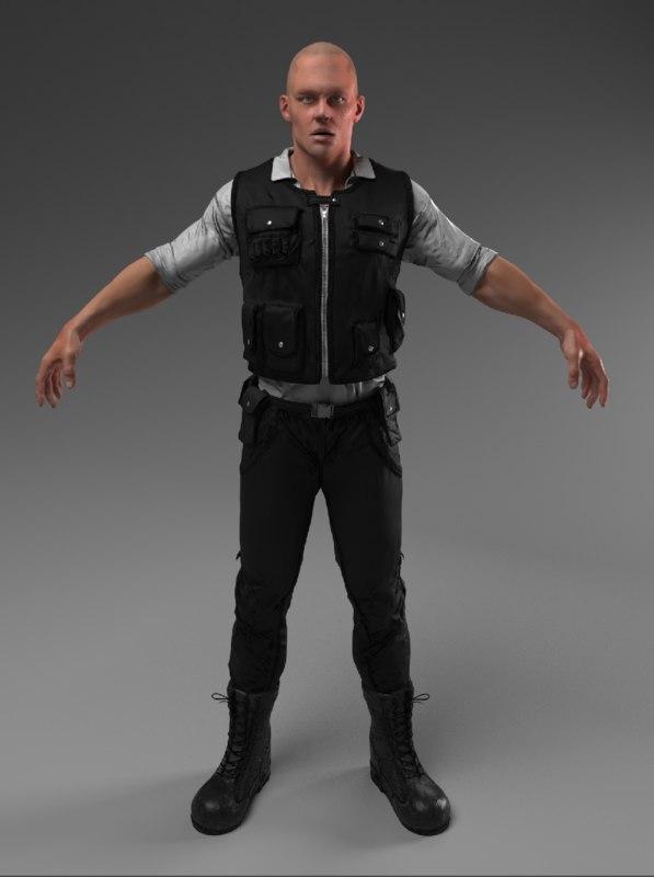 3D security guard police