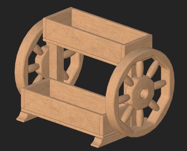 wooden flowerpot 3D model