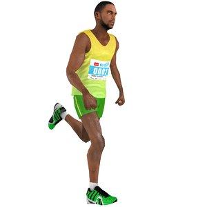 3D rigged marathon runner 2 model