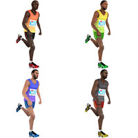 3D pack rigged marathon runner model