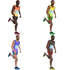 3D pack rigged marathon runner model