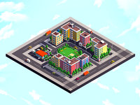 Cartoon Low Poly City Block 1