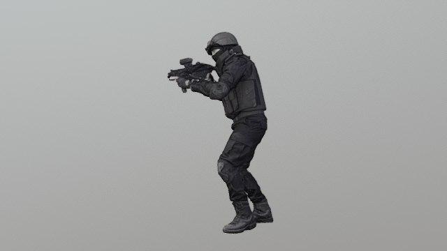 policeman machine gun 3D model
