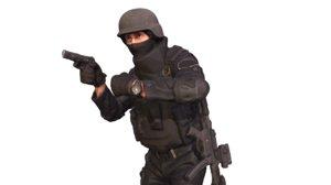 3D policeman gun