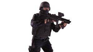 3D model policeman machine gun