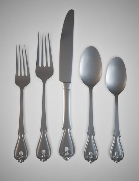 3D second set flatware model