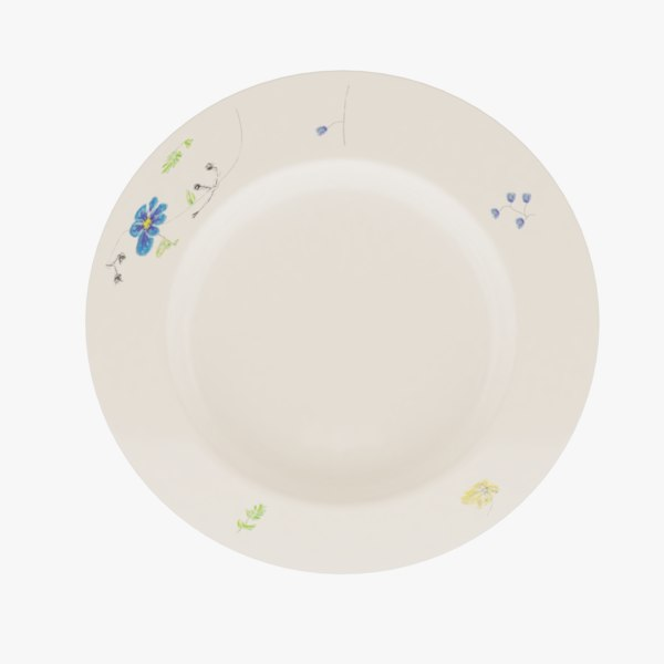 plate tableware dishes 3D model
