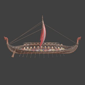 3D model medieval ship modeled