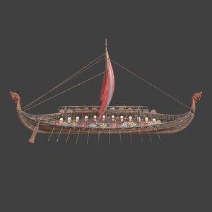 3D model medieval ship modeled