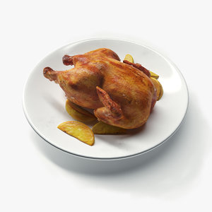 3D realistic roasted chicken potatoes model