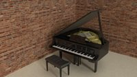 3D baby grand piano