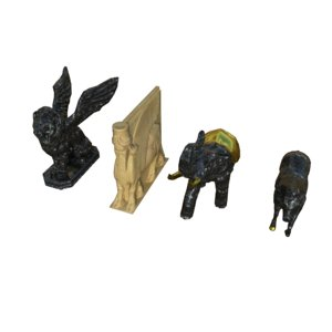 3D statue lamassu lion elephant model
