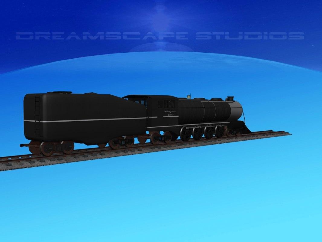 3D railroading steam locomotive model