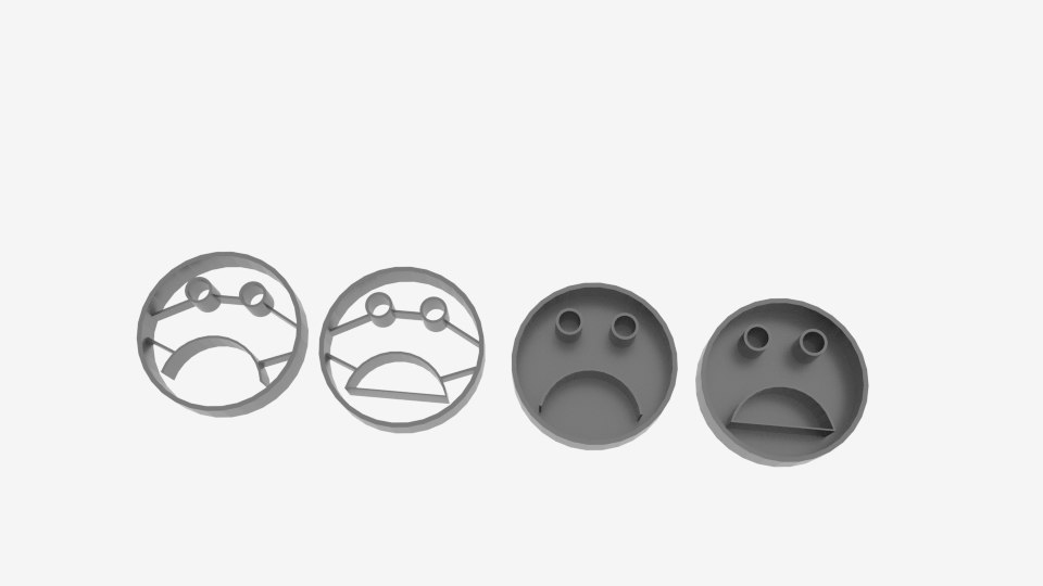3D unhappy face cookie cutter model