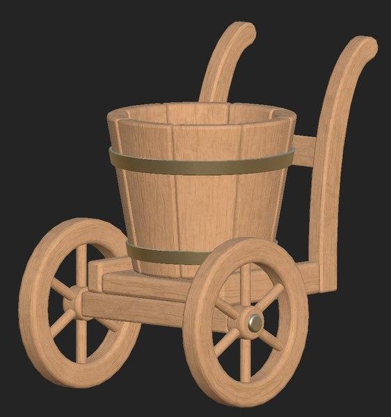 wooden bucket wheels model