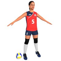 ready volleyball player ball 3D model